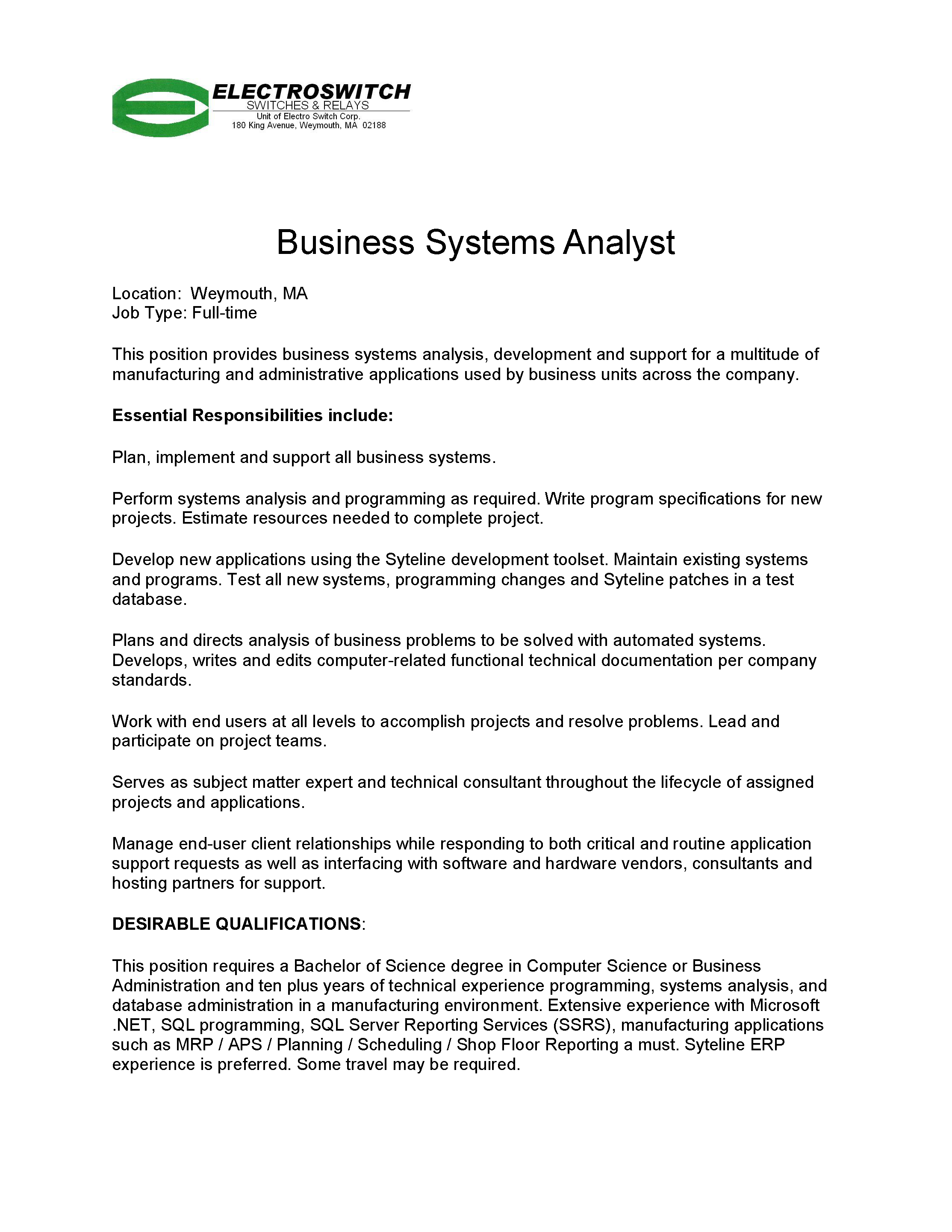 Business Systems Analyst Posting